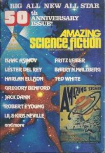 Amazing Science Fiction, June 1976 issue, their 50th Anniversary issue. Cover art by Stephen E. Fabian.