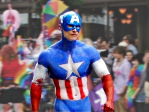 Captain America photographed in the 2012 Seattle Pride Parade (https://www.flickr.com/photos/sea-turtle/)