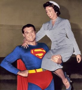 Noel Neill with George Reeves on the set of the Superman TV series. Years before playing Lois with Reeves, Neil played Lois Lane opposite Kirk Allyn in two movies, 1946's Superman, and 1948's Atom Man vs Superman.