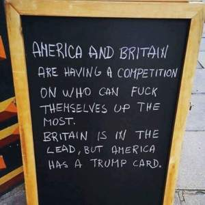"""America and Britain are having a competition on who can f*ck themselves up the most. Britain is in the lead, but America has a Trump card."""