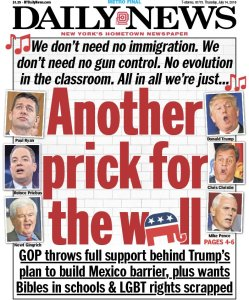 New York Daily New cover speculating as to which awful, misogynist, racist, homophobic politician will be chosen as the running mate for the tangerine-skinned neo-fascist con-man.