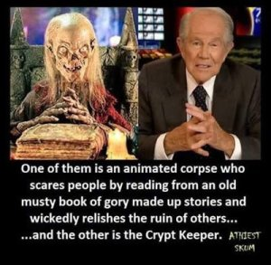 One of them is an animated corpse who scares people by reading from an old must book of gory made-up stories and wickedly relishing the ruin of others — and the other is the Crypt Keeper.