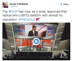 "Tweet reads: ""The @GOP has now, as a body, approved their radical anti-LGBTQ platform with almost no opposition."""