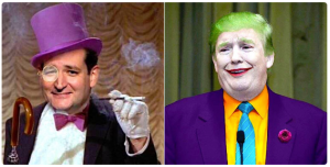 Ted Cruz as Penguin, Donald Trump as the Joker.