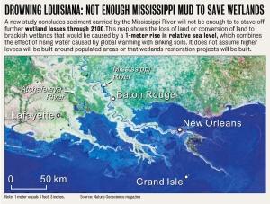 Drowning Louisiana © 2009 Nature Geoscience Magazine (click to embiggen)