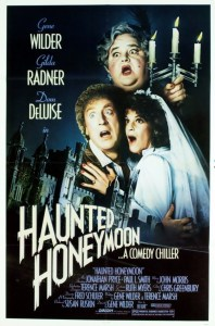 Gene Wilder, Gilda Radnor, and Dom DeLuise on the poster for Haunted Honeymoon. The poster art copyright is believed to belong to the distributor of the film, Orion Pictures, the publisher of the film or the graphic artist.