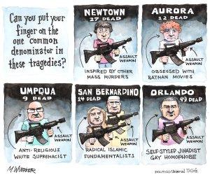 """Can you put your finger on the common denominator?"" © Matt Wuerker, Politico cartoonist http://www.universaluclick.com/editorial/mattwuerker"