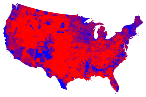 "When the Grist published this in 2014, they captioned it: ""Obama famously denied that there's a red America and blue America, but it turns out he was wrong. There's red America, a sparsely populated but vast landscape of rural and suburban areas, and there's blue America, the ""urban archipelago"" upon which the left's constituencies — single women, minorities, cosmopolitans — cluster.""  (Original image source: 2012 election results, by county, Mark Newman, University of Michigan)"