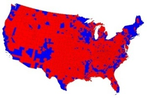 How the 2012 election went by county (source: Mark Newman / University of Michigan). It looks as if Romney should have run, until you realize that more the 60 percent of the population of the entire country lives in those tiny blue area.