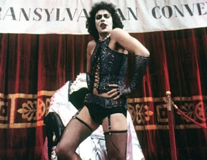 Tim Curry during the Sweet Transvestite show-stopper.