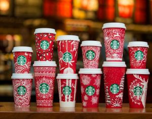 Here, in a picture I swiped for the Starbucks corporate website, are this year's actual holiday cups, which all look very Christmasy to me!