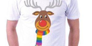 This Gay Rudolph Shirt can be purchased at PrettyPinkPearl.co.uk.