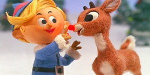 Hermy and Rudolph sing about being misfits. Photo from the NBC special, much of which is in the public domain, though the original character of Rudolph from the poem is a trademark of The Rudolph Company L.P., while the song has a separate copyright.