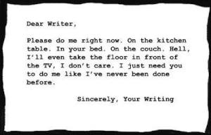 """Dear Writer, Please do me right now. On the kitchen table. In your bed. On the couch. Hell, I'll even take the floor in front of the TV. I don't care. I just need you to do me like I've never been done before. Sincerely, Your Writing"""