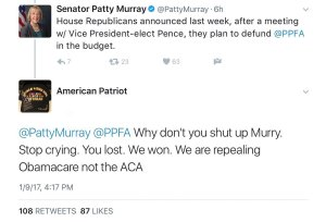 A so-called American Patriot tries to explain to my Senator that repealing Obamacare has nothing to do with the Affordable Care Act.