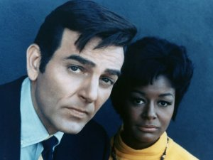 Mike Connors and Gail Fisher in a publicity photo. Fisher was the first black woman to win an Emmy.