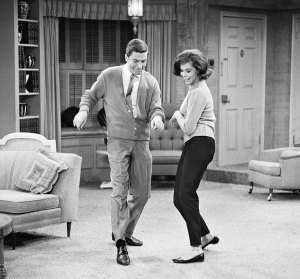 Dick Van Dyke and Mary Tyler Moore in a scene from the Dick Van Dyke Show.