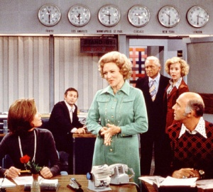Mary Tyler Moore, Betty White, and Gavin MacLeod in the newsroom of the ficticious WJM-TV where Mary Richards made it after all.