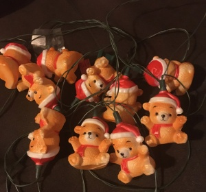 My late husband won this string of teddy bear Santa Christmas lights 25 years ago. Photo © 2017 Gene Breshears.