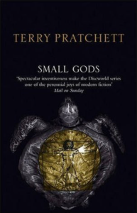 One of the many covers of various editions of Terry Pratchett's _Small Gods_.