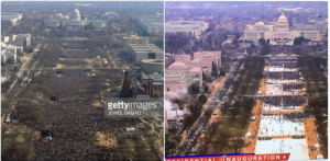 On the left, the crowd that came to celebrate the beginning of the Obama administration, on the right the crowd that came to the pre-inaugruation concert this year.