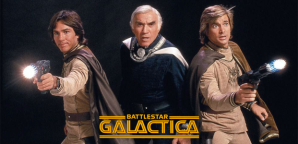 (l to r) Richard Hatch as Captain Apollo, Lorne Greene as Commander Adama, and Dirk Benedict as Starbuck. Promotional image from the original series. © 1978 Glen A. Larson Productions & Universal Television.