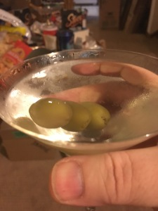 The second martini was a my usual proportions and with three olives.