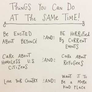 Things you can do that the same time... Substitute celebrity/pop culture/literature/media thing of your choice. Yes, we can be concerned about more than one thing at a time! (click to embiggen)