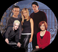Anthony Head, Sarah Michelle Gellar, Brandon Nicholas, Allison Hannagan and James Marsters from a BtVS publicity shot.