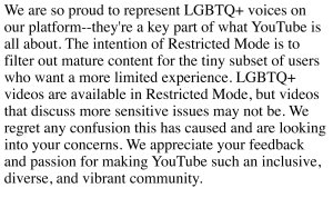 YouTube's completely BS explanation for why they're restricting videos that just happen to be made my Queer people. (Click to embiggen)