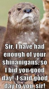 """""""Sir, I have had enough of your shenanigans, so I bid you good day. I said good day to you sir!"""""""