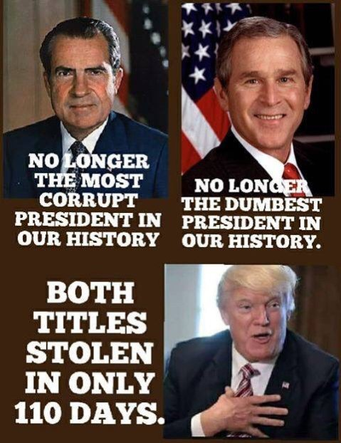 Nixon is no longer the most corrupt President in our history. Dubya is no longer the dumbest President in our history. Trump stole both titles in only 110 days.