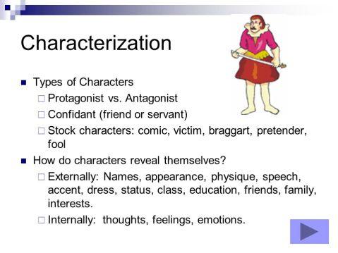 Stock characters: comic, victim, braggart, pretender, fool. (