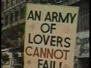 """Protest sign from a photo of an early Pride march: """"An army of lovers cannot fail."""""""