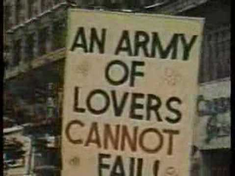 "Protest sign from a photo of an early Pride march: ""An army of lovers cannot fail."""