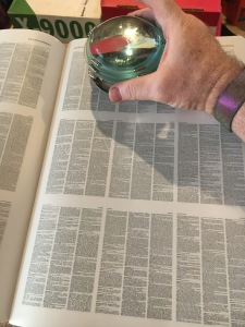 Each of the blocks of text you can see is a page worth of three-column text printed very small.