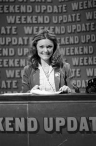Jane Curtin anchoring Weekend Update on Saturday Night Live.
