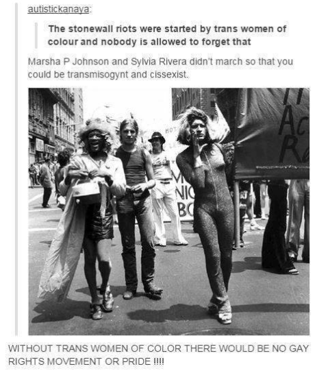 """The Stonewall Riots were started by trans women of colour and no one is allowed to forget that."""