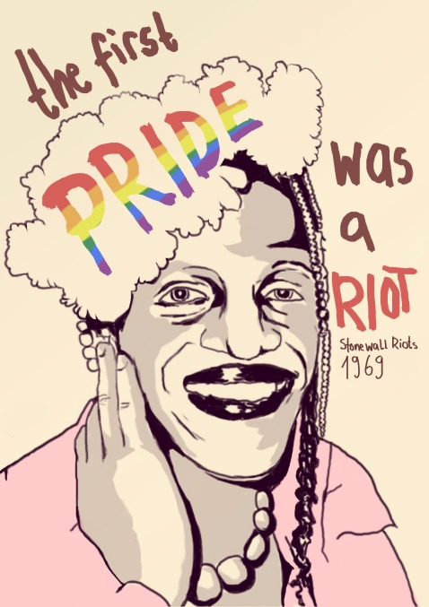 """The first PRIDE was a riot."" And a mice caricature of Marsha P. Johnson, the street queen often credited with throwing the first brick at Stonewall. (Click to embiggen)"