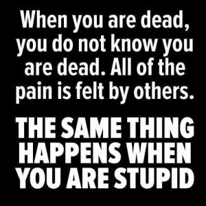 """When you are dead you do not know you are dead. All of the pain is felt by others. THE SAME THING HAPPENS WHEN YOU ARE STUPID."""