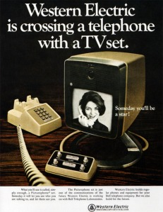 "An magazine ad from 1968: Western Electric is crossing a telephone with a TV set.  ""What you'll use is called, simply enough, a Picturephone set. Someday it will let you see who you are talking to, and let them see you."""