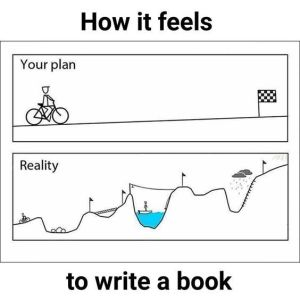 This image (which I believe originated as a cartoon at Doghouse Diaries) has been repurposed many times. In this case to accurately depict the feeling of writing a book.