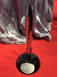 The 2017 Hugo award base was designed by Finnish artist Eeva Jokinen. (Photo by Michael Lee.)