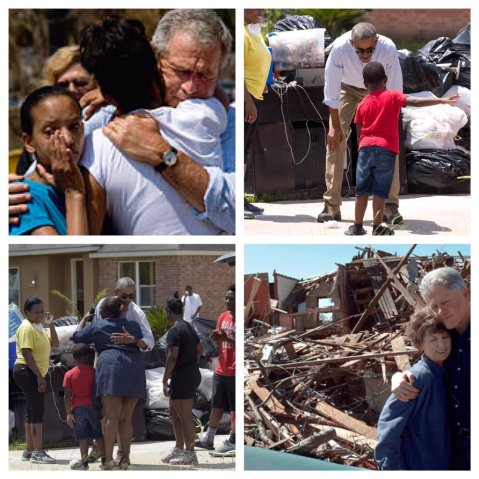 Presidents Bush, Obama, and Clinton all showing the proper way to respond to a natural disaster...