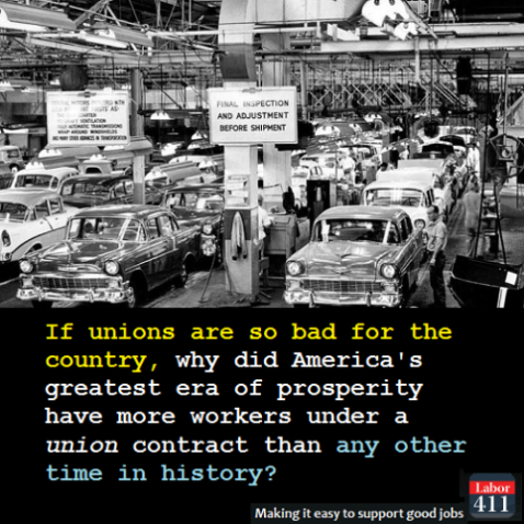 """If unions are bad for the economy, why did America's greatest era of prosperity have more workers under union contract than any other time in history?"""