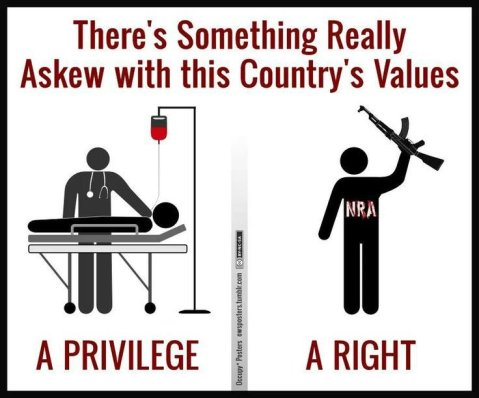 """There's something really askew with this country's values. Health Care is considered a privilege; owning more mass murder weapons that serve no non-murderous function is considered a right."""