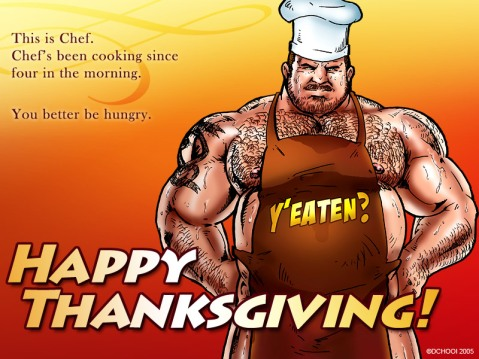 """This is Chef. Chef's been cooking since four this morning. You better be hungry. Happy Thanksgiving."" © Don Chooi  http://dchooidoodles.tumblr.com"