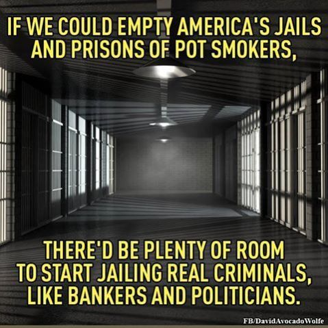 """If we could empty America's jails and prisons of pot smokers, there'd be plenty of room to start jailing real criminals, like bankers and politicians."""
