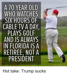 """A 70 year old man who watches six hours of cable TV a day, plays golf, and is always in Florida is a retiree, not a President."""