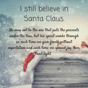 """I still believe in Santa Claus. he may not be the one that puts presents under the tree, but his spirit works through us each time we give freely without expectation and each time we spread joy, love, and light.""—Meadow Linn"